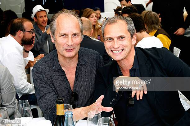Actor Hippolyte Girardot and Journalist Louis Laforge attend the 2015 Roland Garros French Tennis Open Day Eleven on June 3 2015 in Paris France