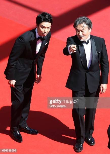 Actor Hiroki Hasegawa and director Kiyoshi Kurosawa attend the 'Before We Vanish ' premiere during the 70th annual Cannes Film Festival at Palais des...