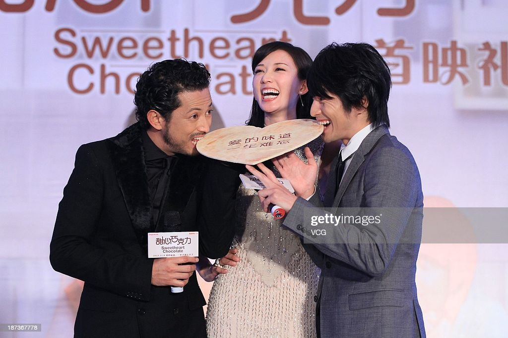 Actor Hiroyuki Ikeuchi actress Chiling Lin and actor Yusuke Fukuchi attend 'Sweetheart Chocolate' press conference at Crowne Plaza Hotel on November...