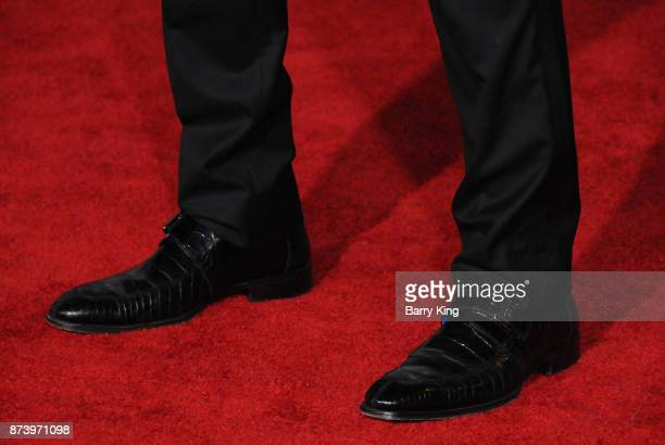 Actor Holt McCallany shoe detail attends the premiere of Warner Bros Pictures' 'Justice League' at Dolby Theatre on November 13 2017 in Hollywood...