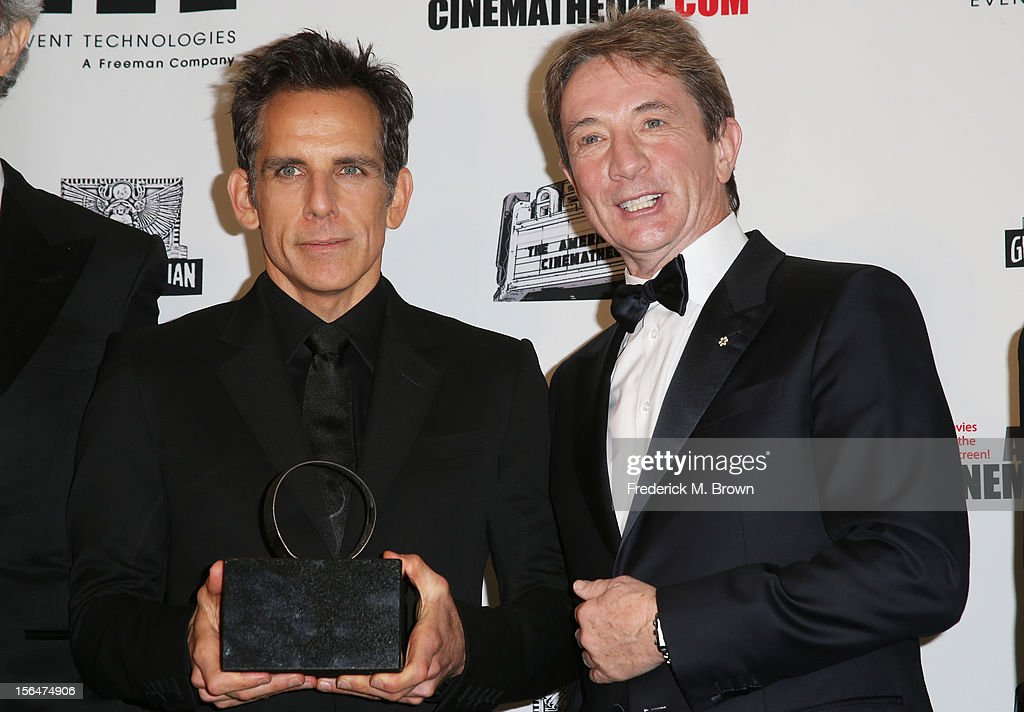Actor, honoree <a gi-track='captionPersonalityLinkClicked' href=/galleries/search?phrase=Ben+Stiller&family=editorial&specificpeople=201806 ng-click='$event.stopPropagation()'>Ben Stiller</a> and actor <a gi-track='captionPersonalityLinkClicked' href=/galleries/search?phrase=Martin+Short&family=editorial&specificpeople=211569 ng-click='$event.stopPropagation()'>Martin Short</a> pose with the American Cinematheque Award during the photo op at the the 26th American Cinematheque Award Gala honoring <a gi-track='captionPersonalityLinkClicked' href=/galleries/search?phrase=Ben+Stiller&family=editorial&specificpeople=201806 ng-click='$event.stopPropagation()'>Ben Stiller</a> at The Beverly Hilton Hotel on November 15, 2012 in Beverly Hills, California.