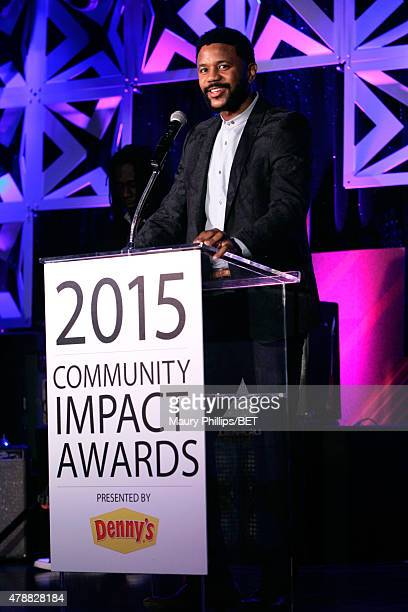 Actor Hosea Chanchez speaks onstage during the 2015 Community Impact Awards presented by Dennys during the 2015 BET Experience at the Conga Room on...