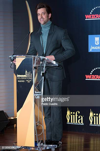 Actor Hrithik Roshan attends the 17th International Indian Film Academy awards press conference at the Retiro Park on March 14 2016 in Madrid Spain
