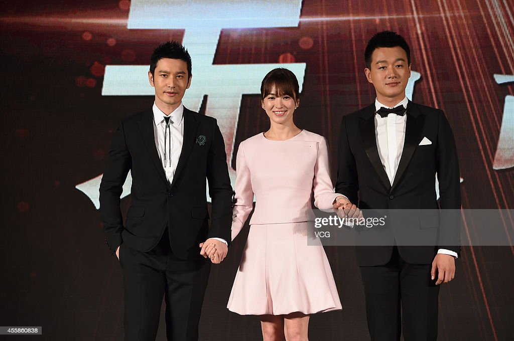 Actor <a gi-track='captionPersonalityLinkClicked' href=/galleries/search?phrase=Huang+Xiaoming&family=editorial&specificpeople=2136627 ng-click='$event.stopPropagation()'>Huang Xiaoming</a>, actress Song Hye Kyo and actor <a gi-track='captionPersonalityLinkClicked' href=/galleries/search?phrase=Tong+Dawei&family=editorial&specificpeople=4384400 ng-click='$event.stopPropagation()'>Tong Dawei</a> attend press conference of new movie 'The Crossing' on September 21, 2014 in Beijing, China.