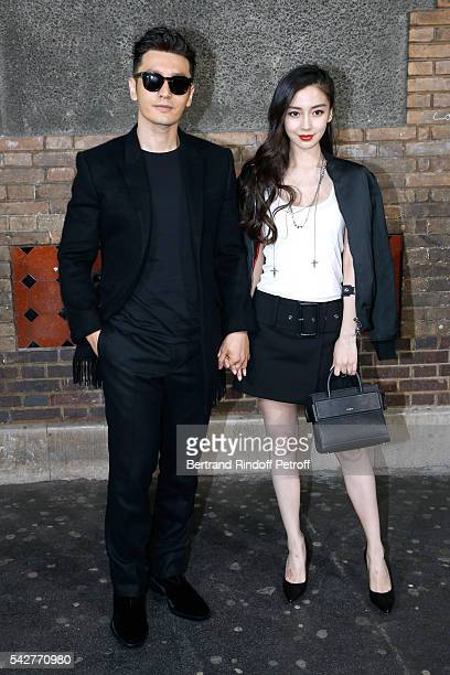 Actor Huang Xiaoming and his wife model Angelababy attend the Givenchy Menswear Spring/Summer 2017 show as part of Paris Fashion Week on June 24 2016...