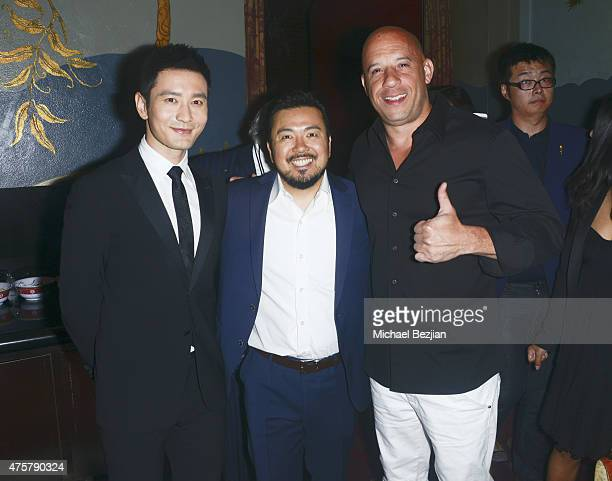 Actor Huang Xiaoming Film Director Justin Lin and Actor Vin Diesel pose for portrait at Bruno Wu and Seven Stars Entertainment Sponsor TCL Chinese...