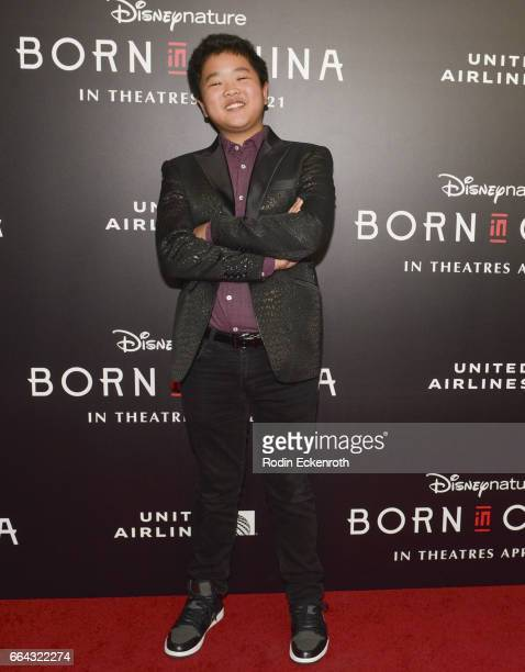 Actor Hudson Yang attends premiere of Disneynature's 'Born In China' at Billy Wilder Theater on April 3 2017 in Los Angeles California