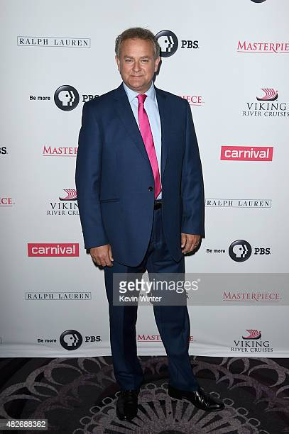 Actor Hugh Bonneville attends the 'Downton Abbey' cast photo call during the 2015 Summer TCA Tour at The Beverly Hilton Hotel on August 1 2015 in...