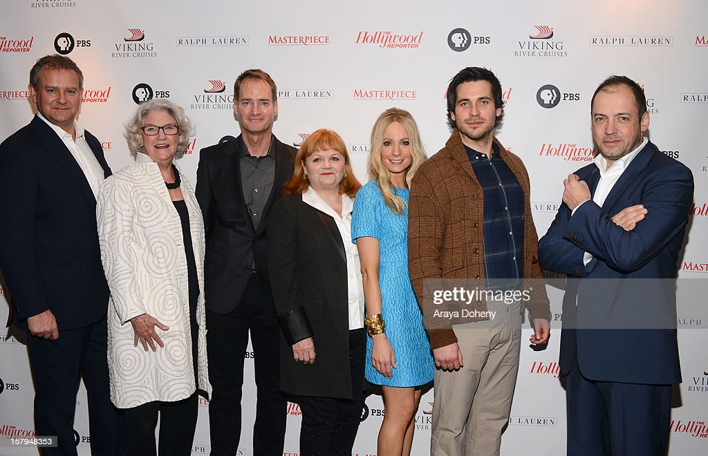 Actor Hugh Bonneville, executive producer, Masterpiece, Rebecca Eaton, Mark Brogger of Viking River Cruises, actors Lesley Nicol, Joanne Froggatt and Rob James-Collier and executive producer Gareth Neame arrive at The Hollywood Reporter screening of PBS Masterpiece's 'Downton Abbey' Season 3 on December 7, 2012 in West Hollywood, California.