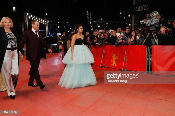 Actor Hugh Bonneville his wife Lulu Williams and actress Huma Qureshi arrive at the 'Viceroy's House' premiere during the 67th Berlinale...