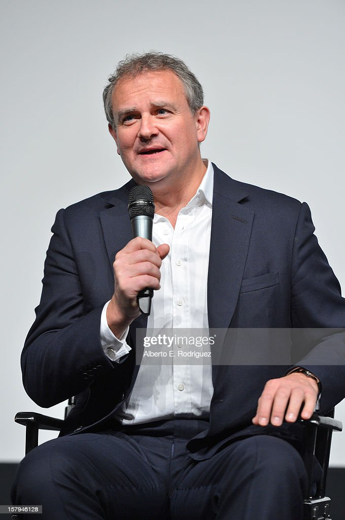 Actor <a gi-track='captionPersonalityLinkClicked' href=/galleries/search?phrase=Hugh+Bonneville&family=editorial&specificpeople=228840 ng-click='$event.stopPropagation()'>Hugh Bonneville</a> speaks onstage during the Q&A session as part of The Hollywood Reporter screening of PBS Masterpiece's 'Downton Abbey' Season 3 on December 7, 2012 in West Hollywood, California.