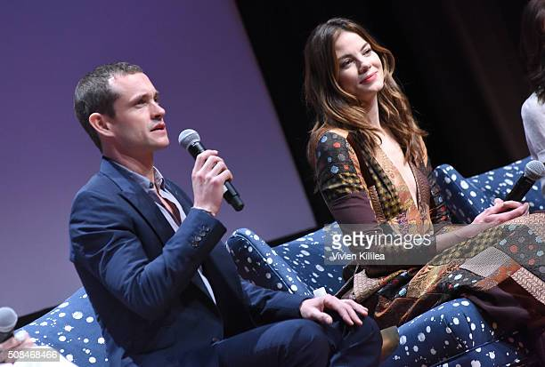 Actor Hugh Dancy and actress Michelle Monaghan speak on stage at 'The Path' event during aTVfest 2016 presented by SCAD on February 4 2016 in Atlanta...