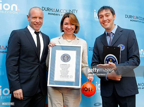 Actor Hugh Dillon Eleo Hensleigh chief marketing officer for ION Media Networks at ION Television and Carlos Martinez Guiness World Record Judicator...
