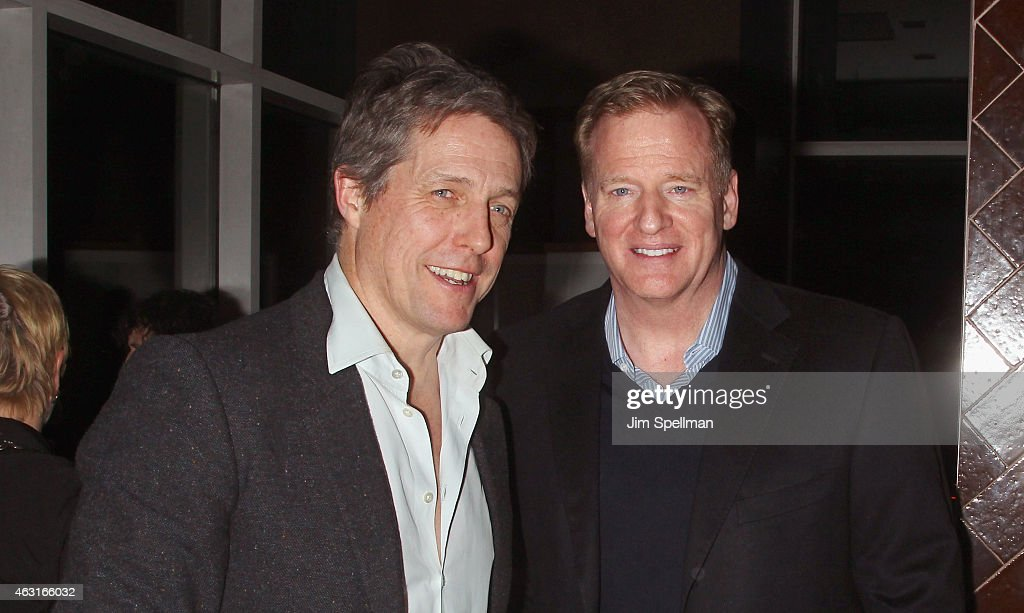 Actor <a gi-track='captionPersonalityLinkClicked' href=/galleries/search?phrase=Hugh+Grant+-+Actor&family=editorial&specificpeople=201817 ng-click='$event.stopPropagation()'>Hugh Grant</a> and commissioner of the National Football League <a gi-track='captionPersonalityLinkClicked' href=/galleries/search?phrase=Roger+Goodell&family=editorial&specificpeople=744758 ng-click='$event.stopPropagation()'>Roger Goodell</a> attend The Cinema Society and Brooks Brothers host a screening of 'The Rewrite' after party at The Jimmy at the James Hotel on February 10, 2015 in New York City.