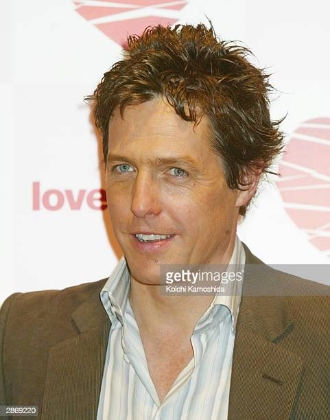 Actor Hugh Grant attends a news conference promoting 'Love Actually' on January 15 2004 in Tokyo Japan