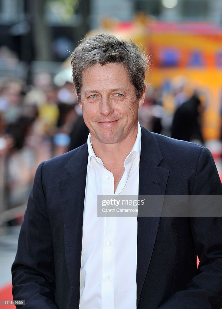 Actor Hugh Grant attends the London Premiere of 'Alan Partidge: Alpha Papa' at Vue Leicester Square on July 24, 2013 in London, England.