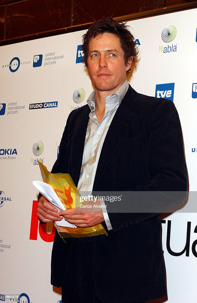 Actor Hugh Grant attends the premiere of his new movie 'Love Actually' at Palacio de la Musica Cinema October 27, 2003 in Madrid.