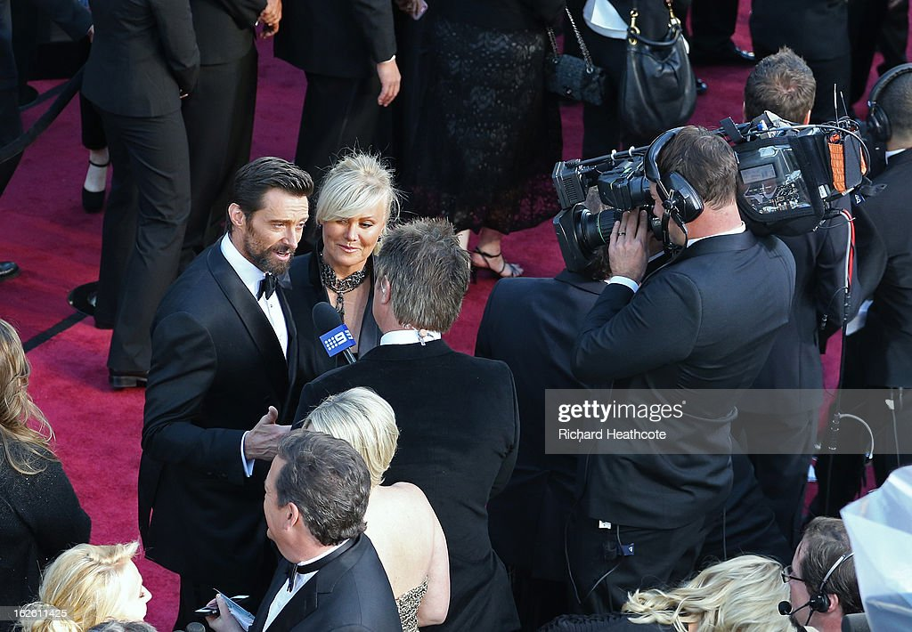Actor Hugh Jackman actress Deborah Lee Furness arrive at the Oscars held at Hollywood & Highland Center on February 24, 2013 in Hollywood, California.