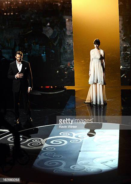 Actor Hugh Jackman and actress Anne Hathaway perform onstage during the Oscars held at the Dolby Theatre on February 24 2013 in Hollywood California