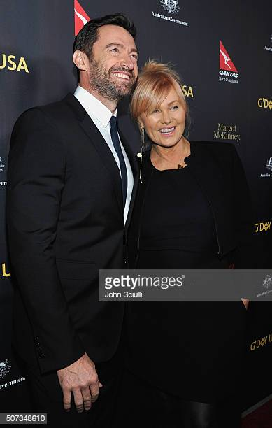 Actor Hugh Jackman and actress DeborraLee Furness attend the 2016 G'Day Los Angeles Gala at Vibiana on January 28 2016 in Los Angeles California