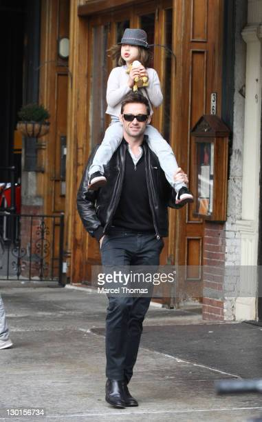 Actor Hugh Jackman and daughter Ava Eliot Jackman are seen arriving at Laughing Man Marketplace in Manhattan on October 23 2011 in New York City