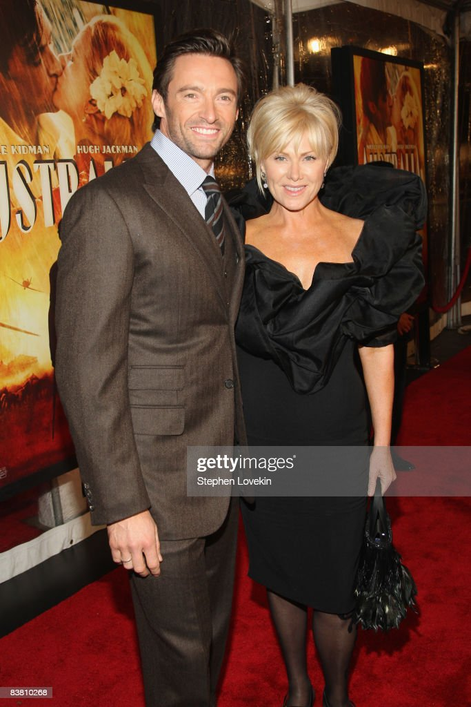 Actor <a gi-track='captionPersonalityLinkClicked' href=/galleries/search?phrase=Hugh+Jackman&family=editorial&specificpeople=202499 ng-click='$event.stopPropagation()'>Hugh Jackman</a> and Deborra-Lee Furness attend the premiere of 'Australia' at the Ziegfeld Theater on November 24, 2008 in New York City.