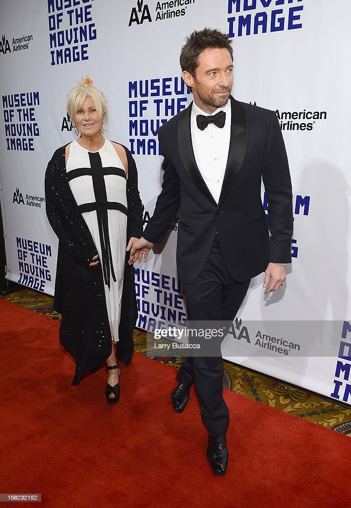 Actor Hugh Jackman and his wife Deborra-Lee Furness arrive at the Museum of Moving Images salute to Hugh Jackman at Cipriani Wall Street on December 11, 2012 in New York City.