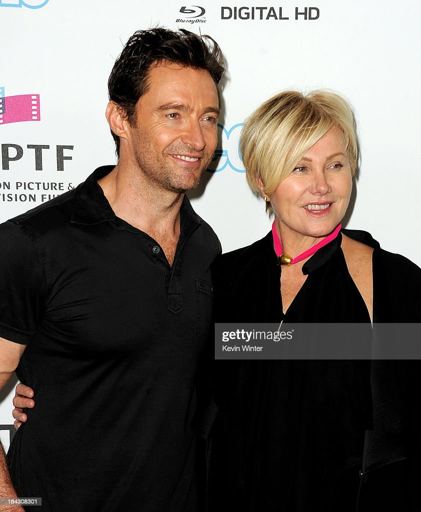 Actor <a gi-track='captionPersonalityLinkClicked' href=/galleries/search?phrase=Hugh+Jackman&family=editorial&specificpeople=202499 ng-click='$event.stopPropagation()'>Hugh Jackman</a> (L) and his wife <a gi-track='captionPersonalityLinkClicked' href=/galleries/search?phrase=Deborra-Lee+Furness&family=editorial&specificpeople=542814 ng-click='$event.stopPropagation()'>Deborra-Lee Furness</a> attend '<a gi-track='captionPersonalityLinkClicked' href=/galleries/search?phrase=Hugh+Jackman&family=editorial&specificpeople=202499 ng-click='$event.stopPropagation()'>Hugh Jackman</a>..One Night Only' benefiting the MPTF at the Dolby Theatre on October 12, 2013 in Los Angeles, California.