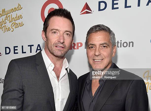 Actor Hugh Jackman and host George Clooney attend the MPTF 95th anniversary celebration with 'Hollywood's Night Under The Stars' at MPTF Wasserman...