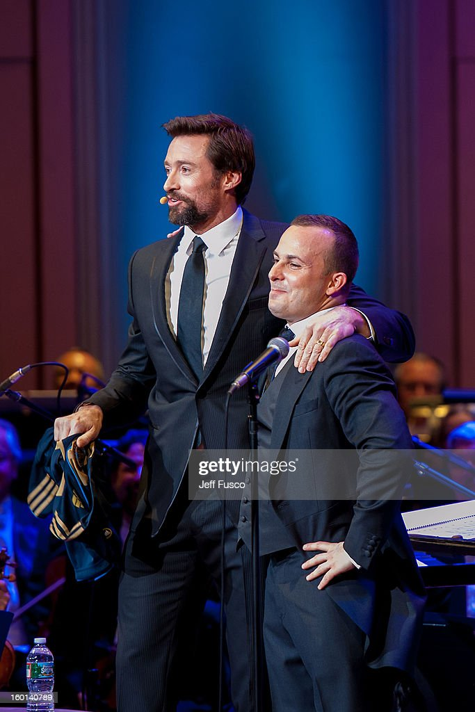 Actor Hugh Jackman (L) and Philadelphia Orchestra Music Director Yannick Nézet-Séguin pose at the Academy of Music's 156th Anniversary Concert at the Academy of Music on January 26, 2013 in Philadelphia, Pennsylvania.