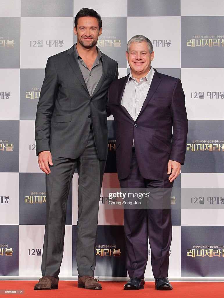 Actor Hugh Jackman and producer Cameron Mackintosh attend the 'Les Miserables' press conference at Ritz Carlton hotel on November 26, 2012 in Seoul, South Korea. The film will open on December in Korea.