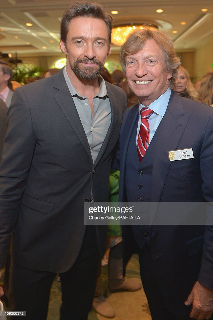 Actor <a gi-track='captionPersonalityLinkClicked' href=/galleries/search?phrase=Hugh+Jackman&family=editorial&specificpeople=202499 ng-click='$event.stopPropagation()'>Hugh Jackman</a> and producer <a gi-track='captionPersonalityLinkClicked' href=/galleries/search?phrase=Nigel+Lythgoe&family=editorial&specificpeople=736462 ng-click='$event.stopPropagation()'>Nigel Lythgoe</a> attend the BAFTA Los Angeles 2013 Awards Season Tea Party held at the Four Seasons Hotel Los Angeles on January 12, 2013 in Los Angeles, California.