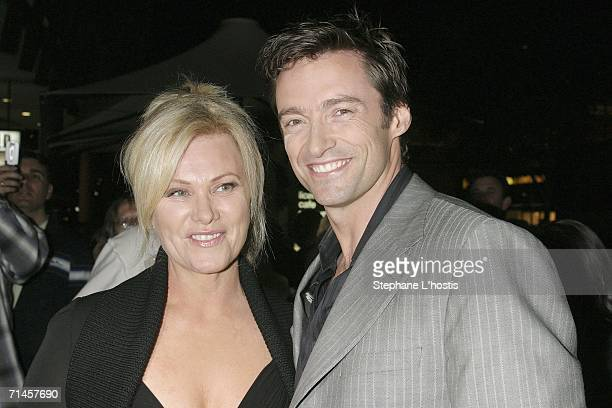 Actor Hugh Jackman and wife actress Deborralee Furness attend the Australian premiere of 'Jindabyne' at the Cinema Paris Entertainment Quarter July...