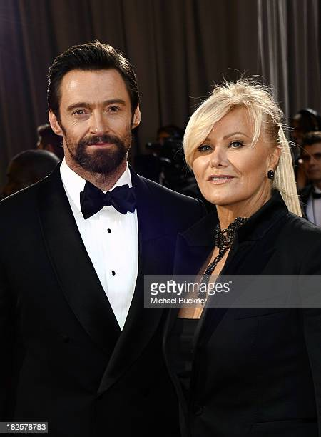 Actor Hugh Jackman and wife Deborah Lee Furness arrive at the Oscars held at Hollywood Highland Center on February 24 2013 in Hollywood California