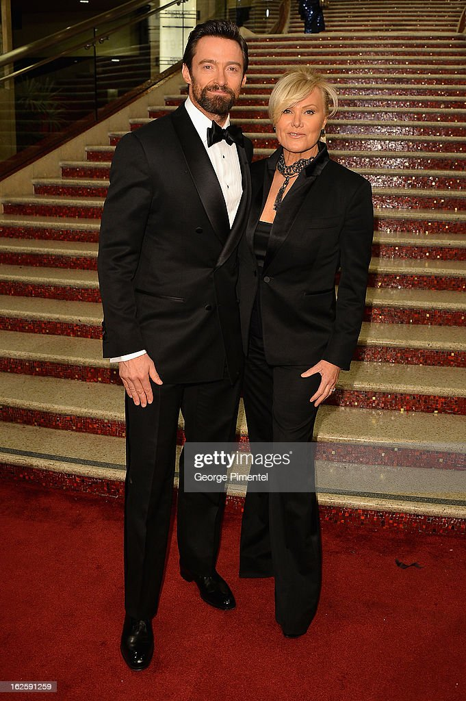 Actor Hugh Jackman and wife Deborah Lee Furness arrive at the Oscars at Hollywood & Highland Center on February 24, 2013 in Hollywood, California.