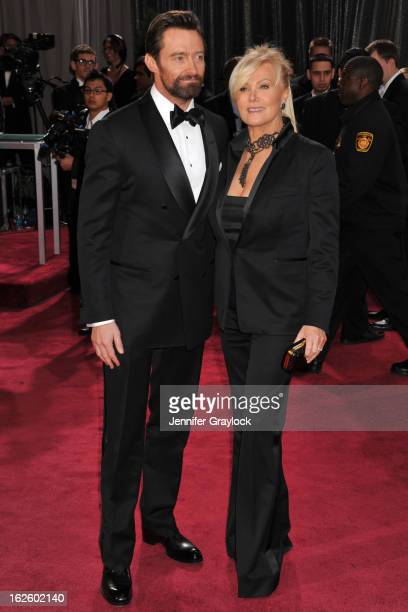 Actor Hugh Jackman and wife Deborah Lee Furness attend the 85th Annual Academy Awards at Hollywood Highland Center on February 24 2013 in Hollywood...