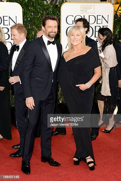 Actor Hugh Jackman and wife DeborraLee Furness arrive at the 70th Annual Golden Globe Awards held at The Beverly Hilton Hotel on January 13 2013 in...