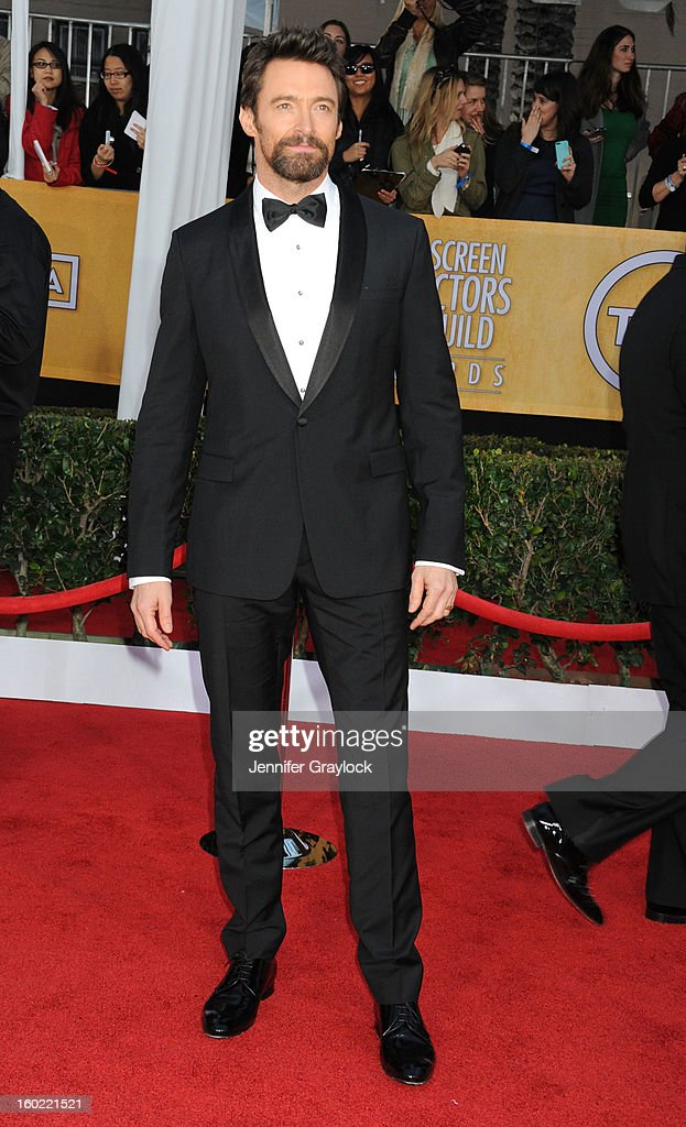 Actor Hugh Jackman arrives at the 19th Annual Screen Actors Guild Awards held at The Shrine Auditorium on January 27, 2013 in Los Angeles, California.