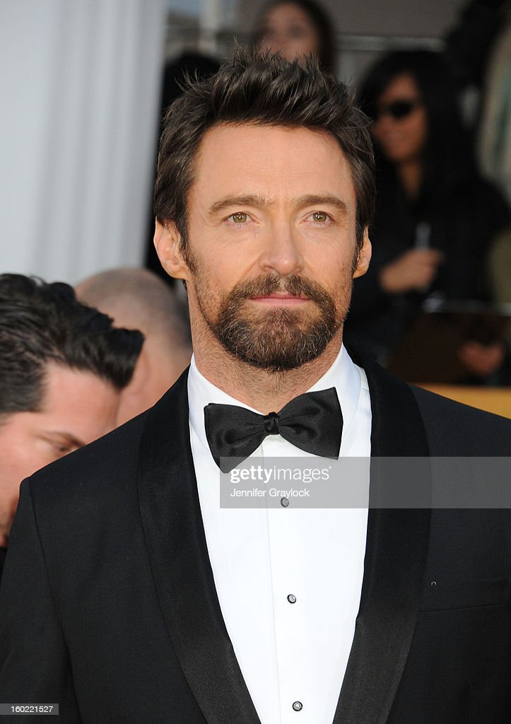 Actor <a gi-track='captionPersonalityLinkClicked' href=/galleries/search?phrase=Hugh+Jackman&family=editorial&specificpeople=202499 ng-click='$event.stopPropagation()'>Hugh Jackman</a> arrives at the 19th Annual Screen Actors Guild Awards held at The Shrine Auditorium on January 27, 2013 in Los Angeles, California.