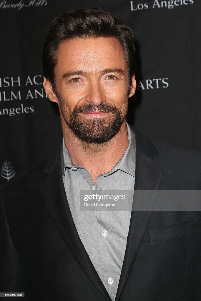 Actor <a gi-track='captionPersonalityLinkClicked' href=/galleries/search?phrase=Hugh+Jackman&family=editorial&specificpeople=202499 ng-click='$event.stopPropagation()'>Hugh Jackman</a> arrives at the BAFTA Los Angeles 2013 Awards Season Tea Party held at the Four Seasons Hotel Los Angeles on January 12, 2013 in Los Angeles, California.