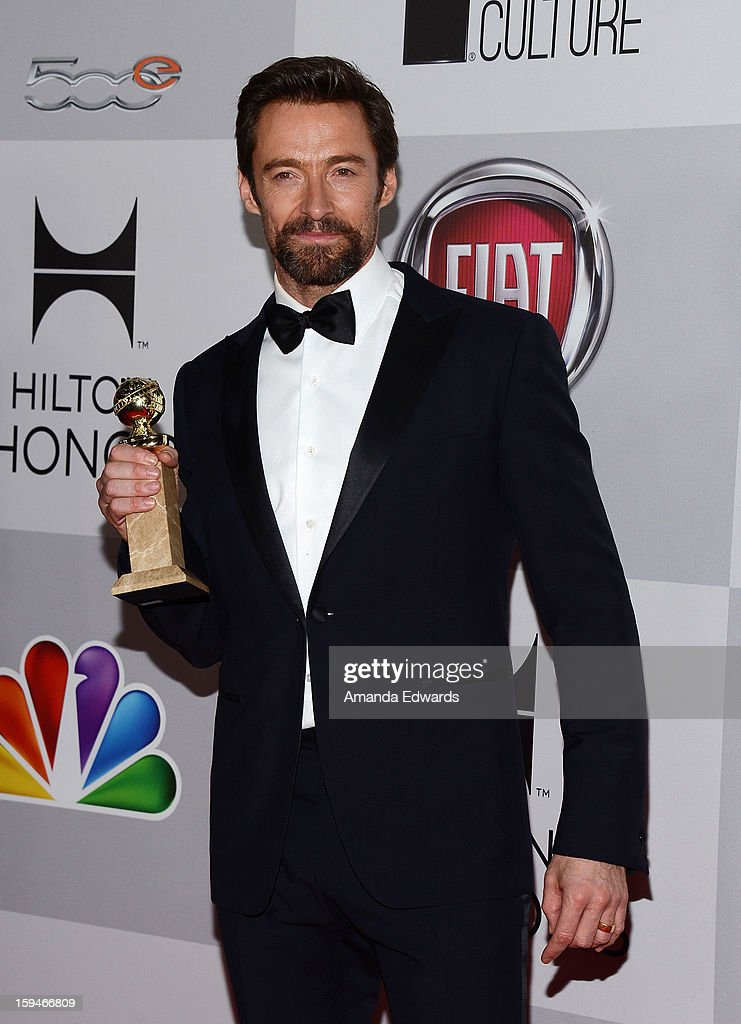 Actor <a gi-track='captionPersonalityLinkClicked' href=/galleries/search?phrase=Hugh+Jackman&family=editorial&specificpeople=202499 ng-click='$event.stopPropagation()'>Hugh Jackman</a> arrives at the NBC Universal's 70th Golden Globes After Party at The Beverly Hilton Hotel on January 13, 2013 in Beverly Hills, California.