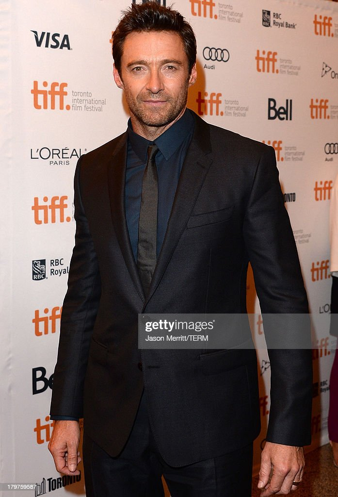 Actor <a gi-track='captionPersonalityLinkClicked' href=/galleries/search?phrase=Hugh+Jackman&family=editorial&specificpeople=202499 ng-click='$event.stopPropagation()'>Hugh Jackman</a> arrives at the 'Prisoners' Premiere during the 2013 Toronto International Film Festival held at The Elgin on September 6, 2013 in Toronto, Canada.