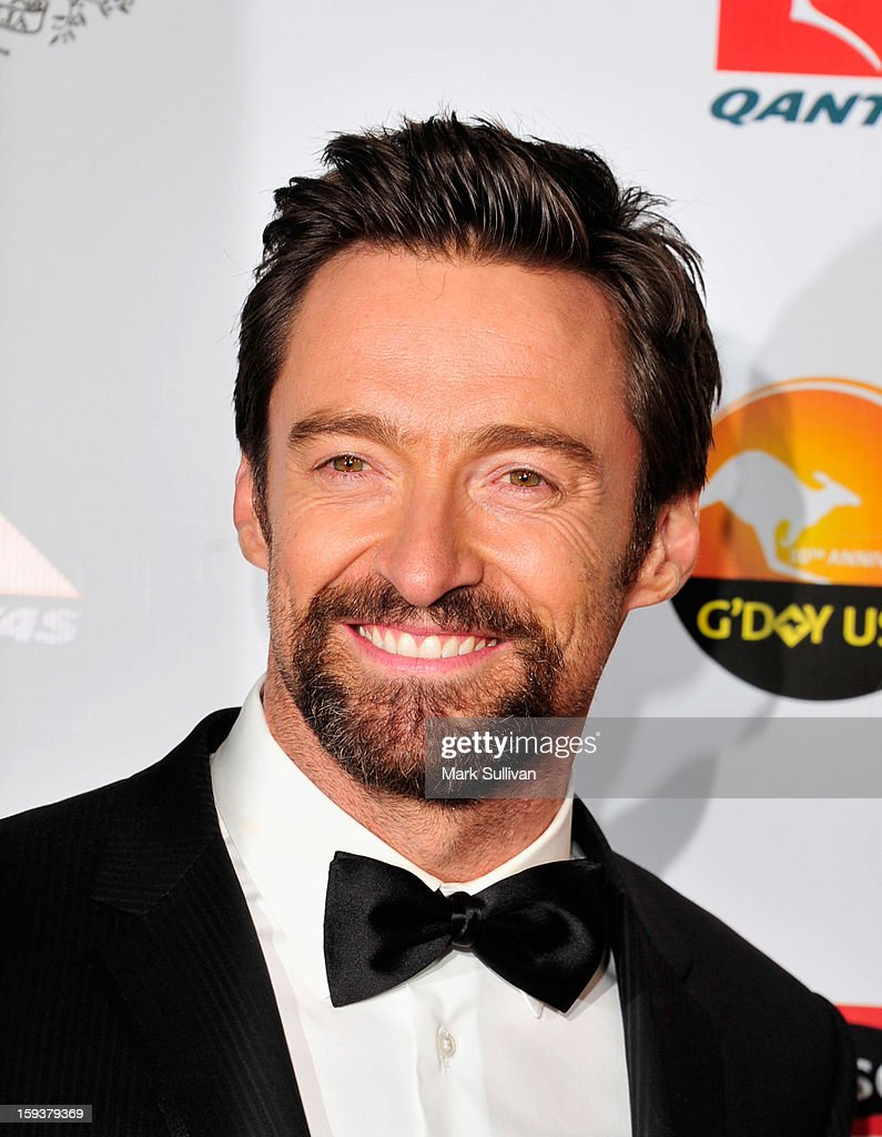 Actor <a gi-track='captionPersonalityLinkClicked' href=/galleries/search?phrase=Hugh+Jackman&family=editorial&specificpeople=202499 ng-click='$event.stopPropagation()'>Hugh Jackman</a> arrives for the G'Day USA Black Tie Gala held at at the JW Marriot at LA Live on January 12, 2013 in Los Angeles, California.