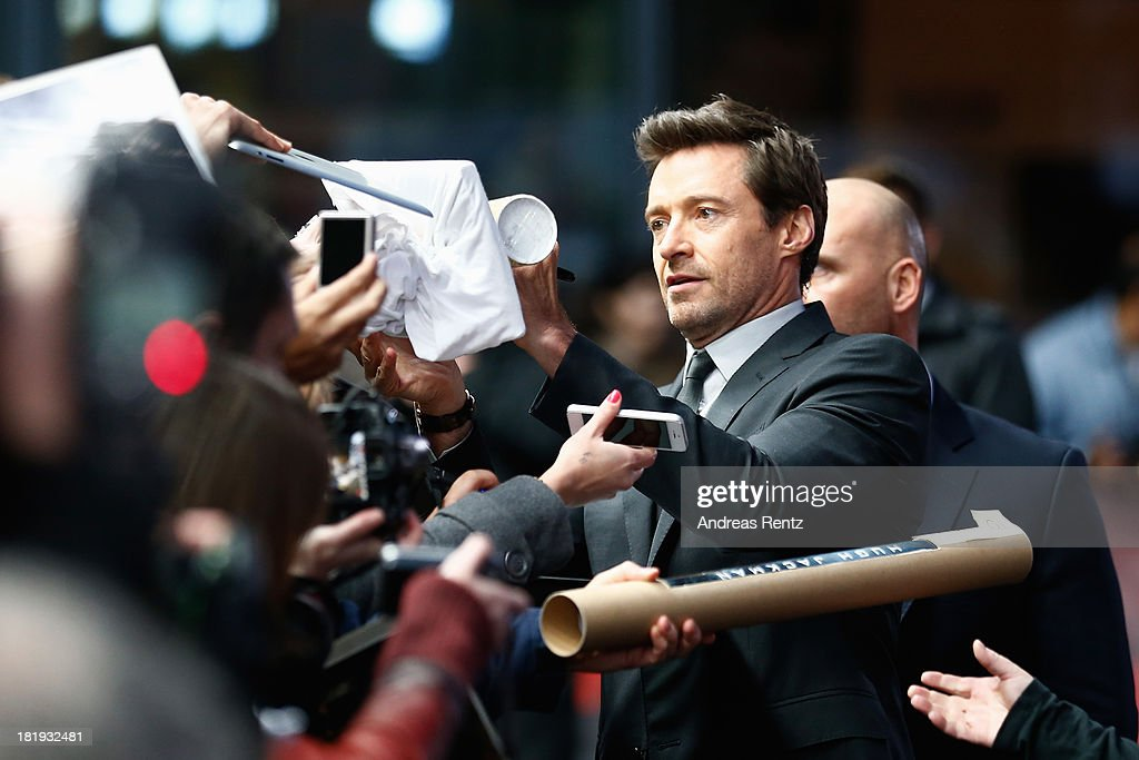 Actor <a gi-track='captionPersonalityLinkClicked' href=/galleries/search?phrase=Hugh+Jackman&family=editorial&specificpeople=202499 ng-click='$event.stopPropagation()'>Hugh Jackman</a> arrives for the 'Prisoners' Germany Premiere at Sony Centre on September 26, 2013 in Berlin, Germany.