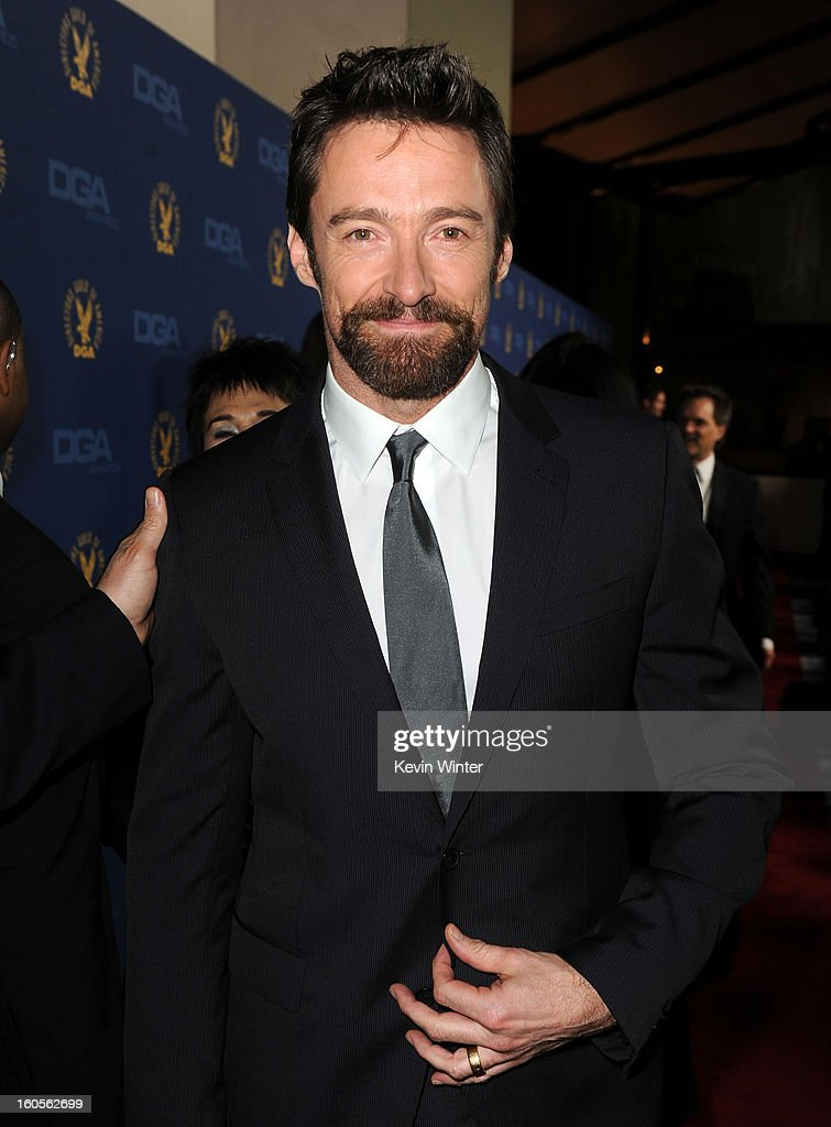 Actor <a gi-track='captionPersonalityLinkClicked' href=/galleries/search?phrase=Hugh+Jackman&family=editorial&specificpeople=202499 ng-click='$event.stopPropagation()'>Hugh Jackman</a> attends the 65th Annual Directors Guild Of America Awards at Ray Dolby Ballroom at Hollywood & Highland on February 2, 2013 in Los Angeles, California.