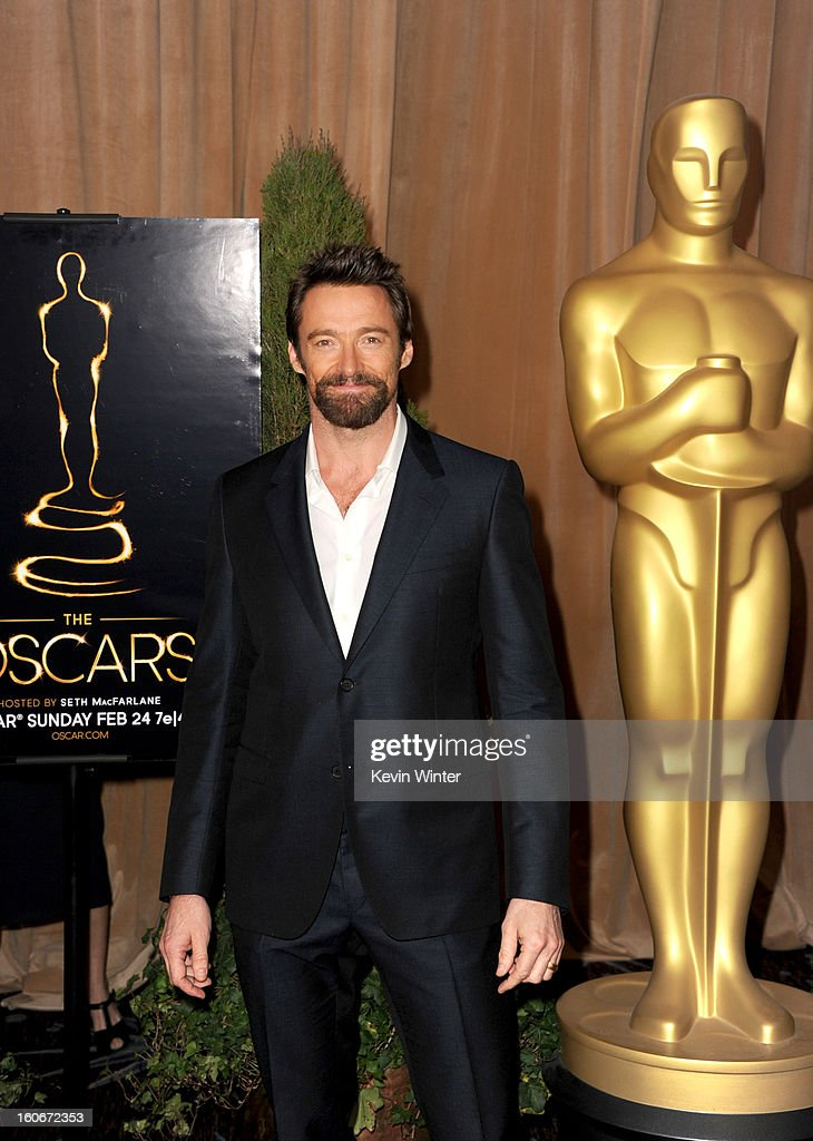 Actor <a gi-track='captionPersonalityLinkClicked' href=/galleries/search?phrase=Hugh+Jackman&family=editorial&specificpeople=202499 ng-click='$event.stopPropagation()'>Hugh Jackman</a> attends the 85th Academy Awards Nominations Luncheon at The Beverly Hilton Hotel on February 4, 2013 in Beverly Hills, California.