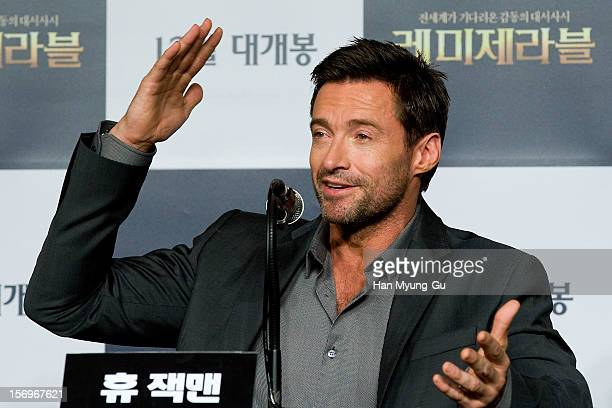Actor Hugh Jackman attends the 'Les Miserables' press conference at Ritz Carlton Hotel on November 26 2012 in Seoul South Korea The film will open on...