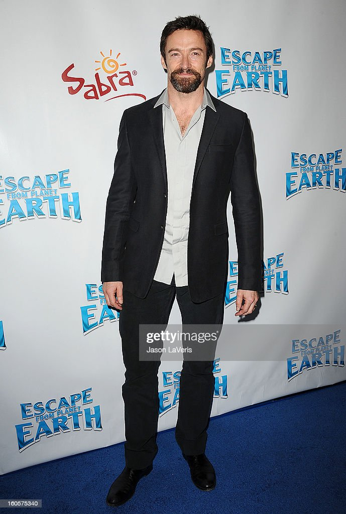 Actor Hugh Jackman attends the premiere of 'Escape From Planet Earth' at Mann Chinese 6 on February 2, 2013 in Los Angeles, California.