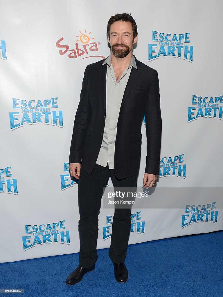 Actor <a gi-track='captionPersonalityLinkClicked' href=/galleries/search?phrase=Hugh+Jackman&family=editorial&specificpeople=202499 ng-click='$event.stopPropagation()'>Hugh Jackman</a> attends the premiere of The Weinstein Company's 'Escape From Planet Earth' at Mann Chinese 6 on February 2, 2013 in Los Angeles, California.