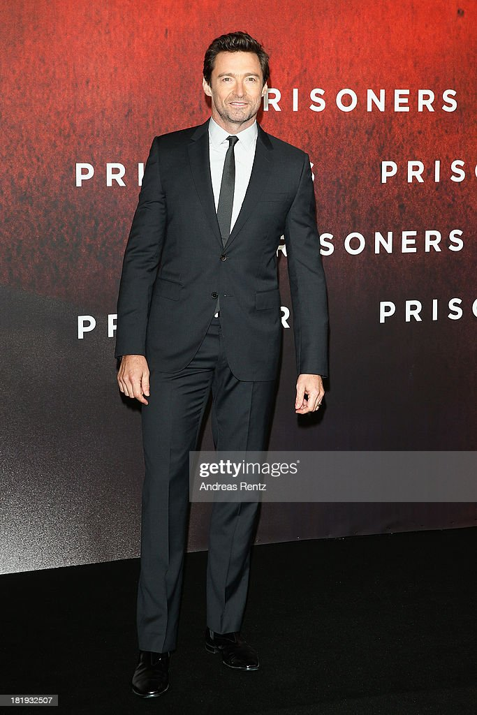 Actor <a gi-track='captionPersonalityLinkClicked' href=/galleries/search?phrase=Hugh+Jackman&family=editorial&specificpeople=202499 ng-click='$event.stopPropagation()'>Hugh Jackman</a> attends the 'Prisoners' Germany Premiere at Sony Centre on September 26, 2013 in Berlin, Germany.